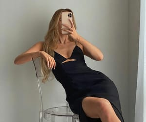 accessories, black dress, and blonde image