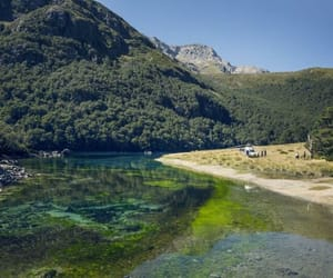 blue lake, nelson new zealand, and optically clear image