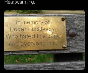 so heartwarming and in memory of roger bench image