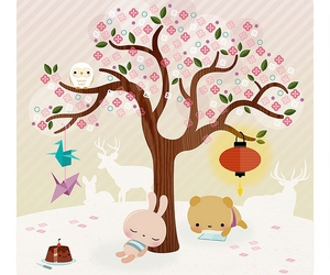 cute, tree, and illustration image