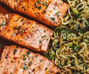 baked, herbs, and salmon image