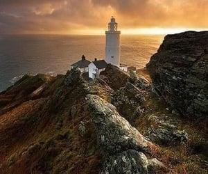 coast, devon, and lighthouse image