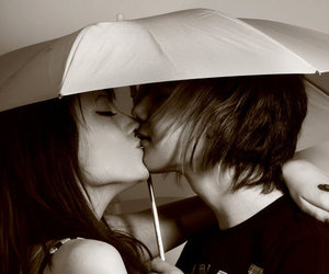 b&w, black and white, and kiss image