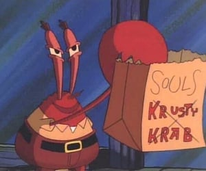 krusty krab, souls, and funny image