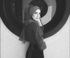 black and white, hijab, and modest image