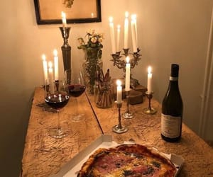 food, candle, and pizza image