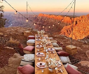 dinner party, grand canyon, and sunset image