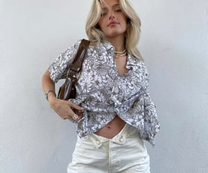 button up shirt, floral print, and street style image