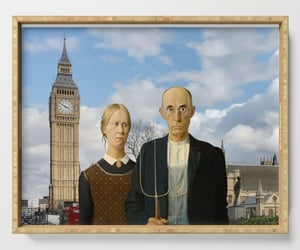 Big Ben, farmers, and american gothic image