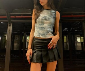 black skirt, summer, and grey crop top image