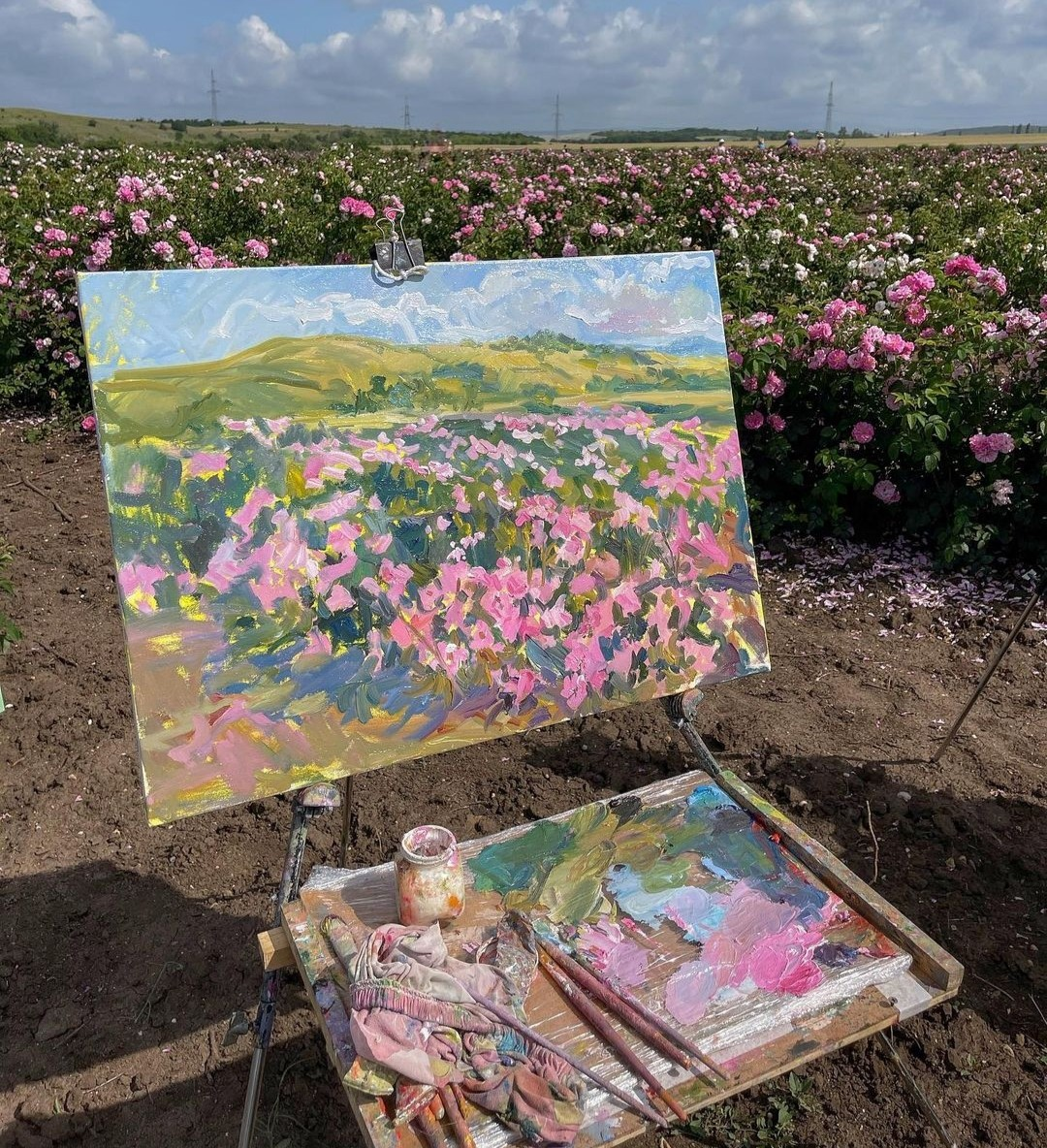 painting, flowers, and aesthetic image