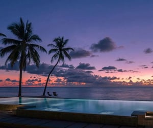 pool, sunset, and ocean image