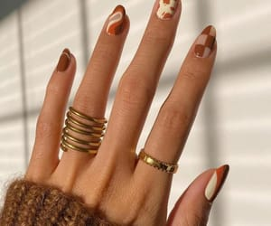 autumn, nails, and gold rings image