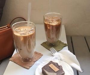 cake, chocolate, and iced coffee image