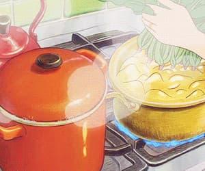 cooking, gif, and anime eating image