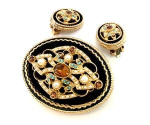 black and gold, black velvet, and gold filigree image