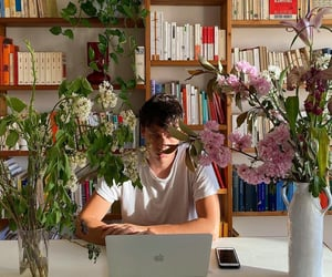 books, cosy, and flowers image