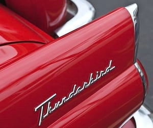 car, red, and thunderbird image
