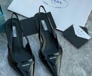 black, luxury heels, and black prada image