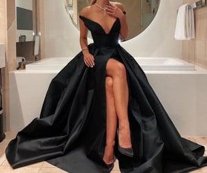 black, black dress, and look image