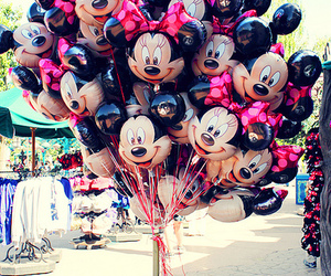 minnie, balloons, and disney image