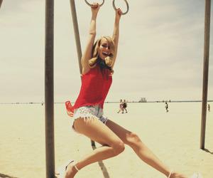beach, blondy, and fun image