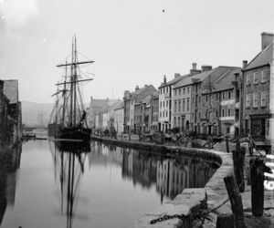 black and white, port, and ship image