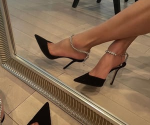 black, Jimmy Choo, and black heels image