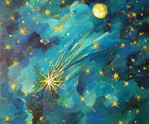 art, moon, and stars image