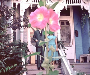 flowers, couple, and house image