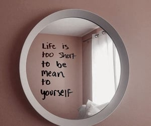 mirror, pink, and quotes image