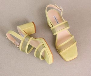 chic, light yellow, and shoes image