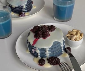 blue, food, and pancakes image