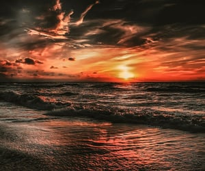 waves, beach, and sunset image