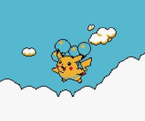 gif, blue, and pikachu image