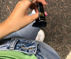 chanel glasses, green top, and street style image