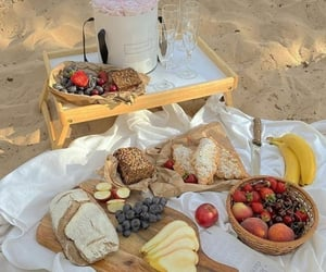 beach, drink, and picnic image