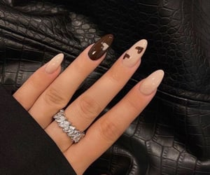 nails, brown, and manicure image