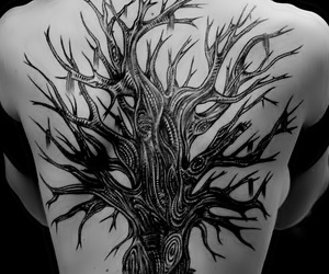 back tattoo, black and white, and girl image
