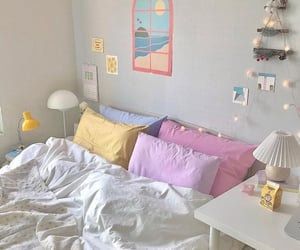aesthetic, pastel, and bed image
