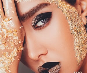 gold, golden, and makeup image