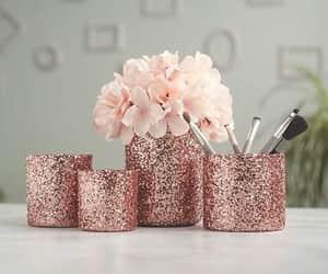 vase, rose gold, and makeup kit image