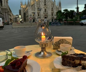 city, food, and romantic image