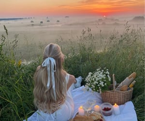 girl, picnic, and flowers image