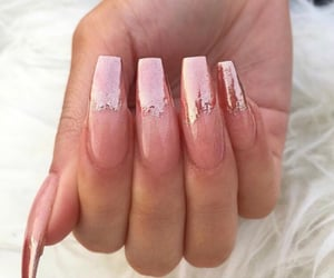long nails, shimmer, and nail designs image