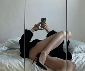 bed, black, and fashion image