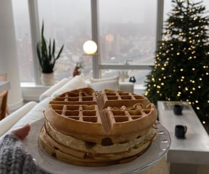 waffle, chocolate, and delicious image