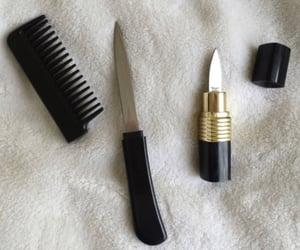 knife, spy, and lipstick image