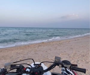 bike, eau, and plage image