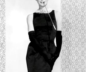 pearls, black, and dress image